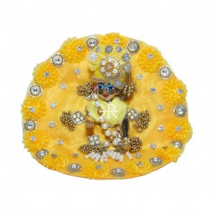 Designer Yellow Floral Stone Patch Work Dress