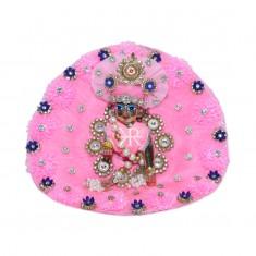 Designer Pink Frill Stone Patch Work Dress