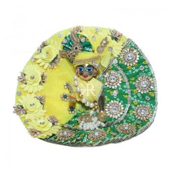 Designer Lemon Green Bandhni Stone Beads Flower Patch Work Dress