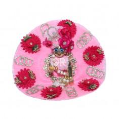 Designer Pink Stone Flower Patch Work Dress