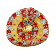 Designer Yellow Red Bandhni Stone Beads Patch Work Dress