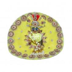 Designer Yellow Pearl Stone Patch Work Dress