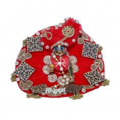 Designer Red Wood Stone Patch Work Dress