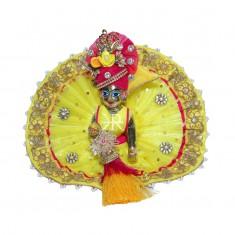 Designer Yellow Kundan Patch Zari Lace Work Dress