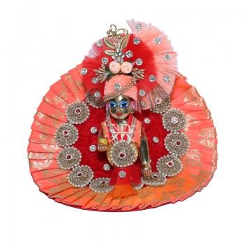Beautiful Red Peach Banarasi Silk Stone Pearl Patch Work Dress