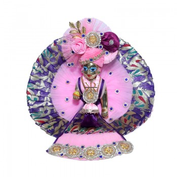 Designer Pink Purple Banarasi Silk Stone Patch Work Dress
