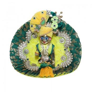 Designer Lemon Green Banarasi Silk Kundan Patch Work Dress
