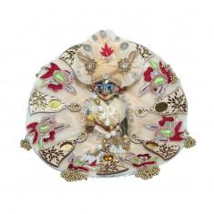 Designer Peach Kundan Wood Tassels Work Dress