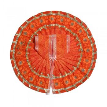 Orange Embrodiery Gotta Lace Work Dress