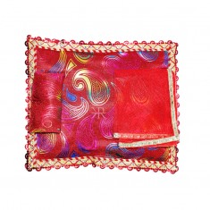 Red Carry Print Foil Lace Work Bed Set