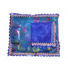 Blue Carry Print Foil Lace Work Bed Set