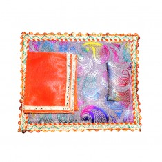 Orange Carry Print Foil Lace Work Bed Set