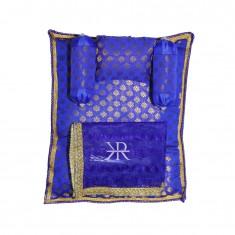 Royal Blue Golden Liquid Zari Hand Block Print Work Bed Set