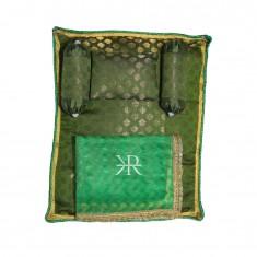 Green Golden Liquid Zari Hand Block Print Work Bed Set
