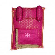 Rani Golden Liquid Zari Hand Block Print Work Bed Set