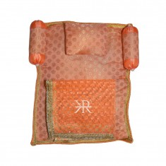 Peach Golden Liquid Zari Hand Block Print Work Bed Set