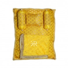 Yellow Golden Liquid Zari Hand Block Print Work Bed Set