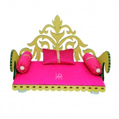 Pink Wooden Work Laddu Gopal Singhasan