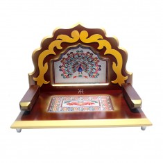 Golden Brown Wooden Meenakari Work Laddu Gopal Singhasan