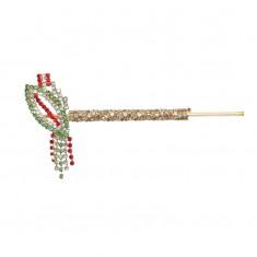 Designer Green Red Stone Work Bansi / Flute