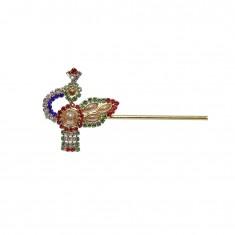 Peacock Multi Colour Stone Pearl Work Bansi / Flute