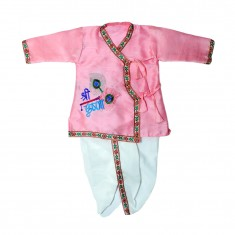 Beautiful Pink Silk Embriodary Work Krishna Dress