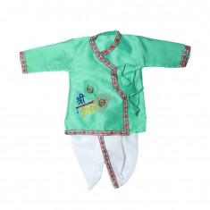 Beautiful Parrot Green Silk Embriodary Work  Krishna Dress