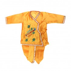 Yellow Silk Zari Work Krishna Dress