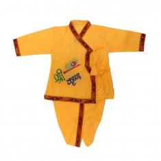 Yellow Cotton Embroidered Work Krishna Dress