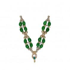 Green Stone Pearl Work Mala