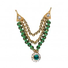 Golden Green Stone Pearl Work Mala