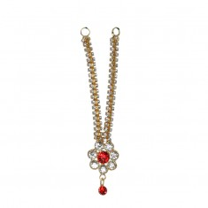 Golden Red Stone Work Mala