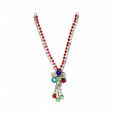 Red White Multi Stone Work Mala
