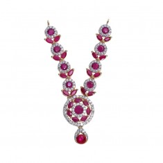 Beautiful AD Ruby Stone Work Mala/ Necklace