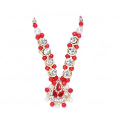 Red White Stone Pearl Work Mala