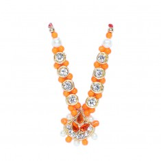 Orange White Stone Pearl Work Mala