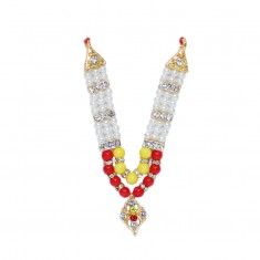 Yellow Red Pearl Stone Work Mala