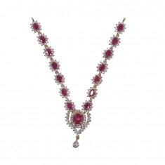 Elegant Ruby White AD Stone Work Mala/ Necklace