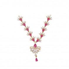 Beautiful White Pink AD Stone Work Mala/ Necklace