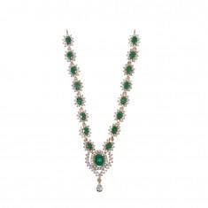 Beautiful White Green AD Stone Work Mala/ Necklace