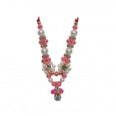 Golden Pink Stone Pearl Work Mala