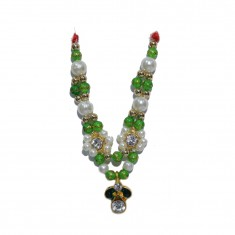 Golden Parrot Green Stone Pearl Work Mala