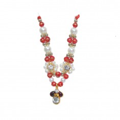 Golden Red Stone Pearl Work Mala