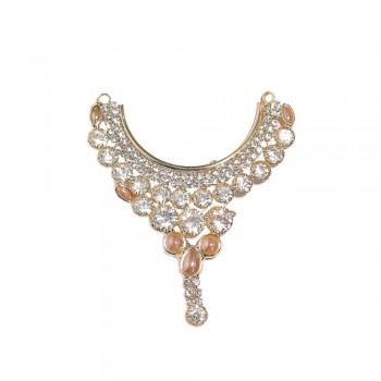 Golden White Stone Pearl Work Neckless / Mala