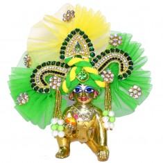 Designer Green Yellow Heavy Stone Patch Work Laddu Gopal Pugree