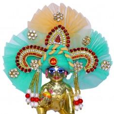 Designer Golden Green Heavy Stone Patch Work Laddu Gopal Pugree
