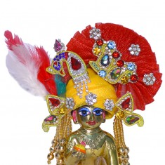 Designer Yellow Red Heavy Stone Patch Work Laddu Gopal Pugree