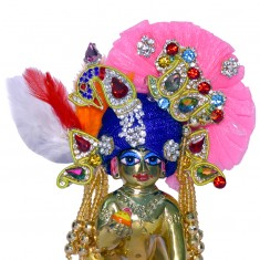 Designer Blue Pink Heavy Stone Patch Work Laddu Gopal Pugree