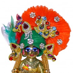 Designer Green Orange Heavy Stone Patch Work Laddu Gopal Pugree