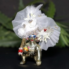 Designer White Stone Flower Patch Work Laddu Gopal Pugree